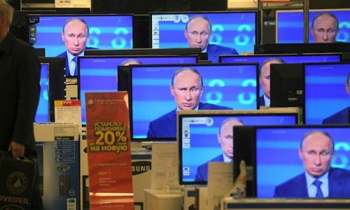 Vladimir Putin on TV screens
